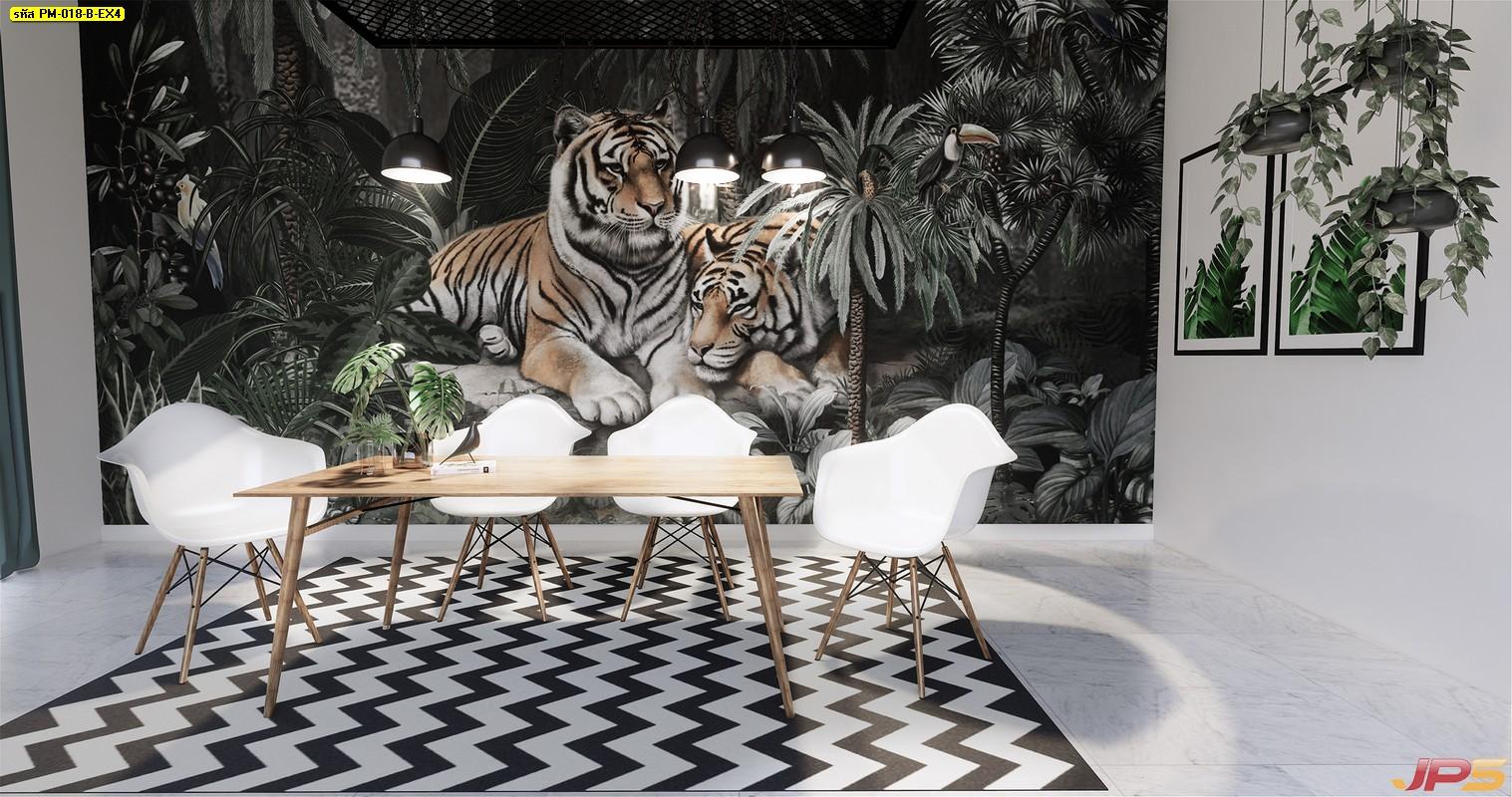 บริการพิมพ์ภาพแคนวาส ลายเสือคู่ในสวนป่าสไตล์ทรอปิคอล