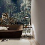 ปริ้นรูปผ้าแคนวาส ลายเสือคู่ในสวนป่าสไตล์ทรอปิคอล ตกแต่งห้องนั่งเล่น