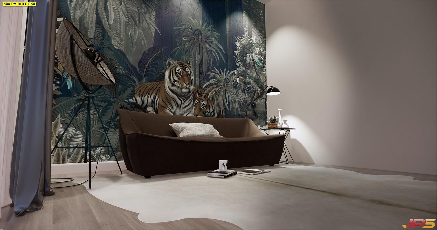 วอลเปเปอร์พิมพ์ลงบนผ้า ลายเสือนอนคู่กันในสวนป่า
