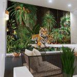 ปริ้นรูปผ้าแคนวาส ลายเสือคู่ในสวนป่าสีเขียว ตกแต่งบ้าน