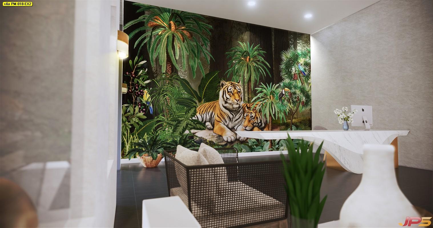 ปริ้นรูปผ้าแคนวาส ลายเสือคู่ในสวนป่าสีเขียว