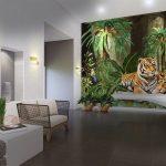 วอลเปเปอร์หมึกกันน้ำ ลายเสือนอนคู่กันในสวนป่าเขียวขจี ตกแต่งห้อง