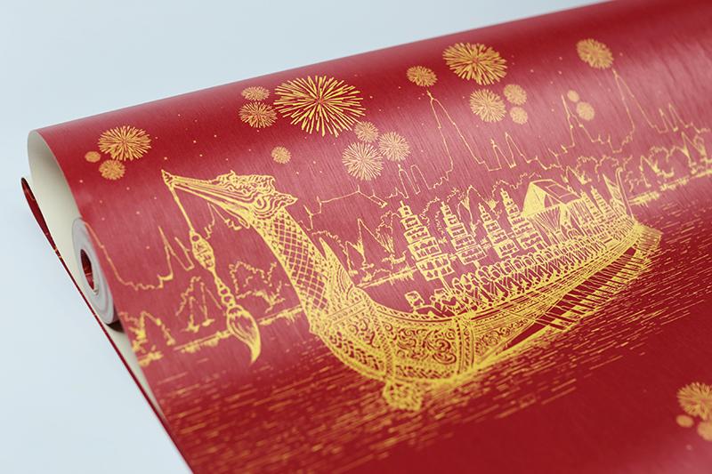 รับติดวอลเปเปอร์ลายไทย ลายเรือสุพรรณหงส์ สีแดง ตกแต่งผนัง