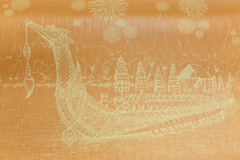วอลเปเปอร์ไวนิลลายไทยราคาถูก ลายเรือสุพรรณหงส์ สีเหลือง