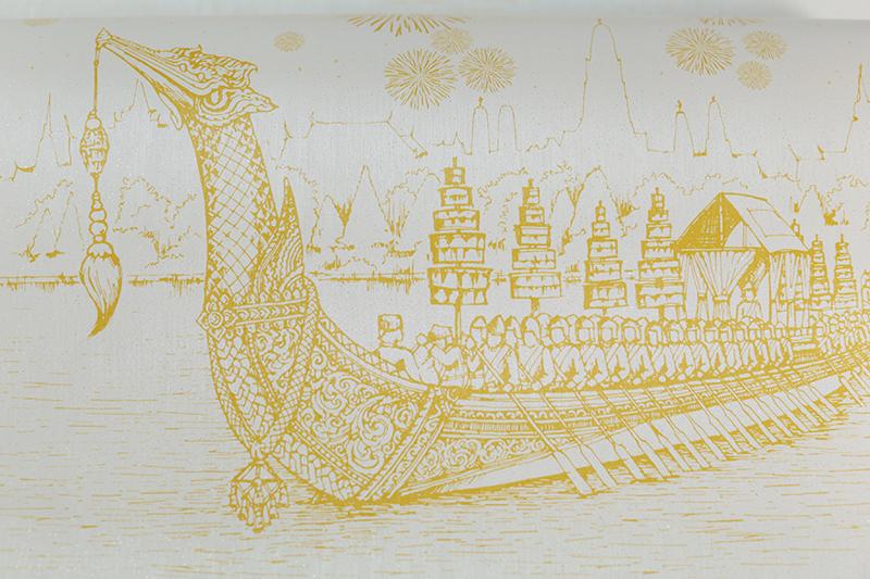 วอลเปเปอร์ลายไทยราคาถูก ลายเรือสุพรรณหงส์สีทอง พื้นขาว ตกแต่งผนัง