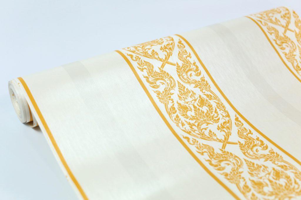 ขายวอลเปเปอร์ลายไทย ลายกนกสีเหลือง พื้นหลังขาว