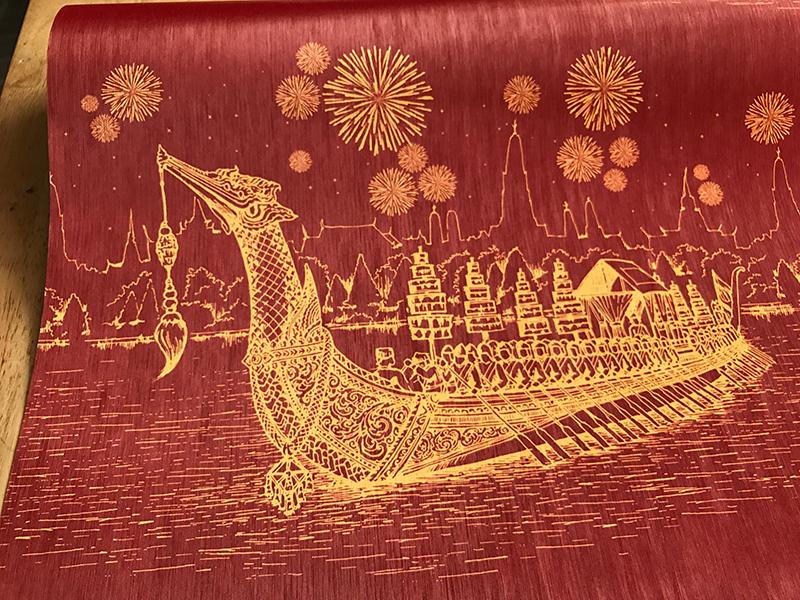วอลเปเปอร์ติดผนังลายเรือสุพรรณหงส์ สีแดง ตกแต่งห้องพระ