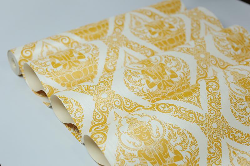วอลเปเปอร์ลายไทยเทพพนมสีทอง พื้นขาว วัสดุไวนิล กันน้ำ กันฝุ่นเกาะ