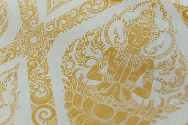 วอลเปเปอร์ห้องพระ ลายไทยเทพพนมสีทอง พื้นขาว เป็นไวนิลคุณภาพสูง กันน้ำได้