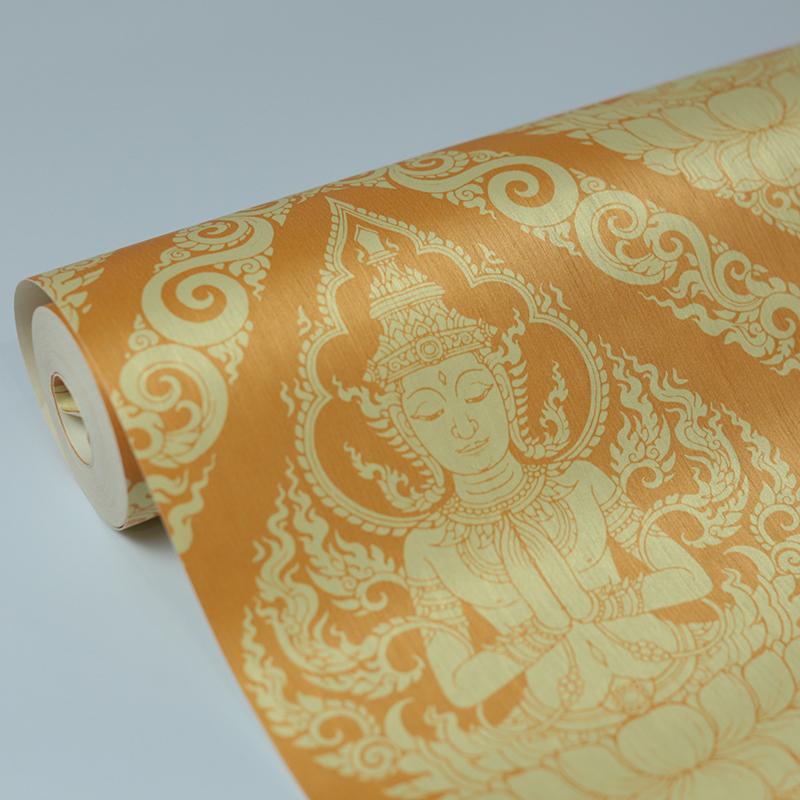 วอลเปเปอร์ลายไทยเทพพนม สีเหลือง กันน้ำได้