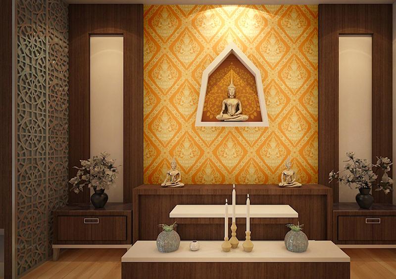วอลเปเปอร์ไวนิลลายไทยเทพพนม สีเหลือง ตกแต่งผนังห้องพระ