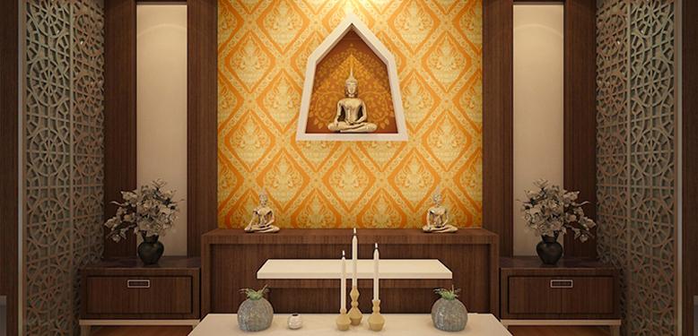 วอลเปเปอร์ไวนิลลายไทยราคาถูก วอลเปเปอร์ลายไทยเทพพนม สีเหลือง ตกแต่งผนังห้องพระ