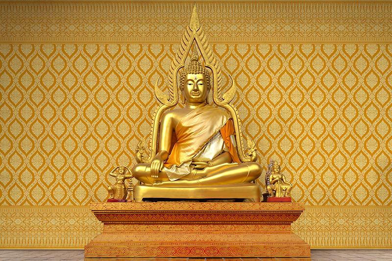 ขายส่งวอลเปเปอร์ลายไทย ลายพุ่มข้าวบิณฑ์ สีเหลือง วัสดุไวนิล คุณภาพดี ทนทานต่อการใช้งาน