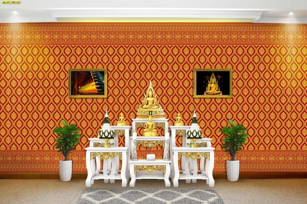 รับติดวอลเปเปอร์ลายไทย วอลเปเปอร์ติดผนังลายกรวยเชิง สีแดง ตกแต่งห้องพระ