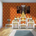 วอลเปเปอร์ไวนิลติดผนังลายไทยเทพพนม สีแดง ตกแต่งห้องพระให้ความสวยงามและโดดเด่น