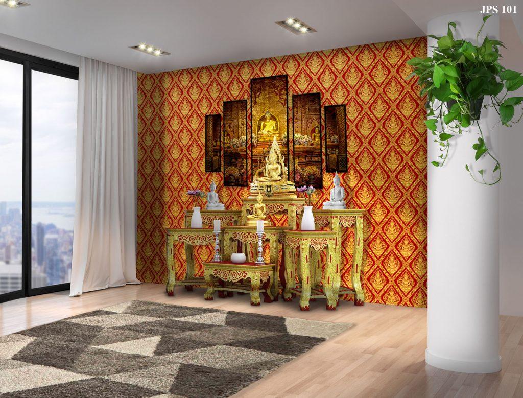 วอลเปเปอร์ไวนิลติดผนังลายไทยเทพพนม สีแดง รับตกแต่งห้องพระด้วยวอลเปเปอร์