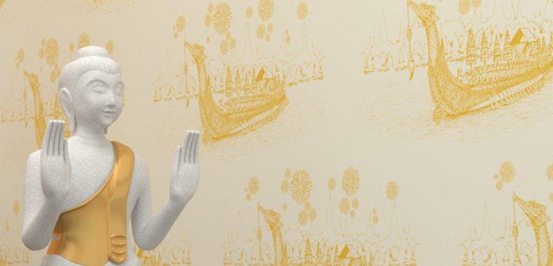 วอลเปเปอร์ แต่งฉากหลังห้องพระ ลายเรือสุพรรณหงส์สีทอง พื้นขาว เป็นวัสดุไวนิล ทำความสะอาดได้ง่าย ราคาถูก