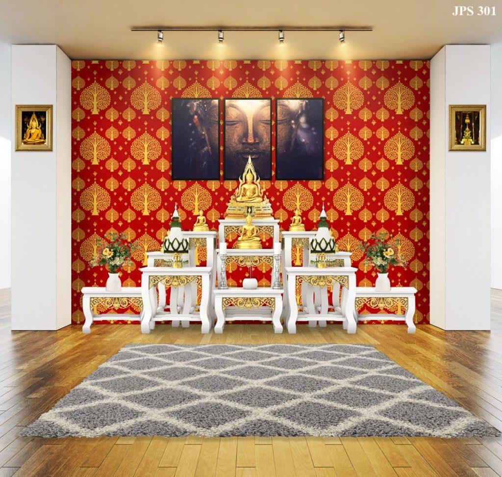 วอลเปเปอร์ไวนิลติดผนังลายต้นโพธิ์สีทอง พื้นสีแดง ตกแต่งห้องพระ