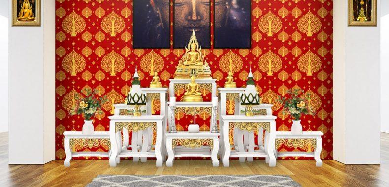 วอลเปเปอร์ไวนิลติดผนังลายต้นโพธิ์สีทอง พื้นสีแดง ตกแต่งผนังห้องพระ อายุการใช้งานยาวนาน
