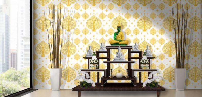 วอลเปเปอร์ แต่งฉากหลังห้องพระ ติดผนังลายต้นโพธิ์สีทอง พื้นขาว ให้ห้องดูสว่างสดใสขึ้น