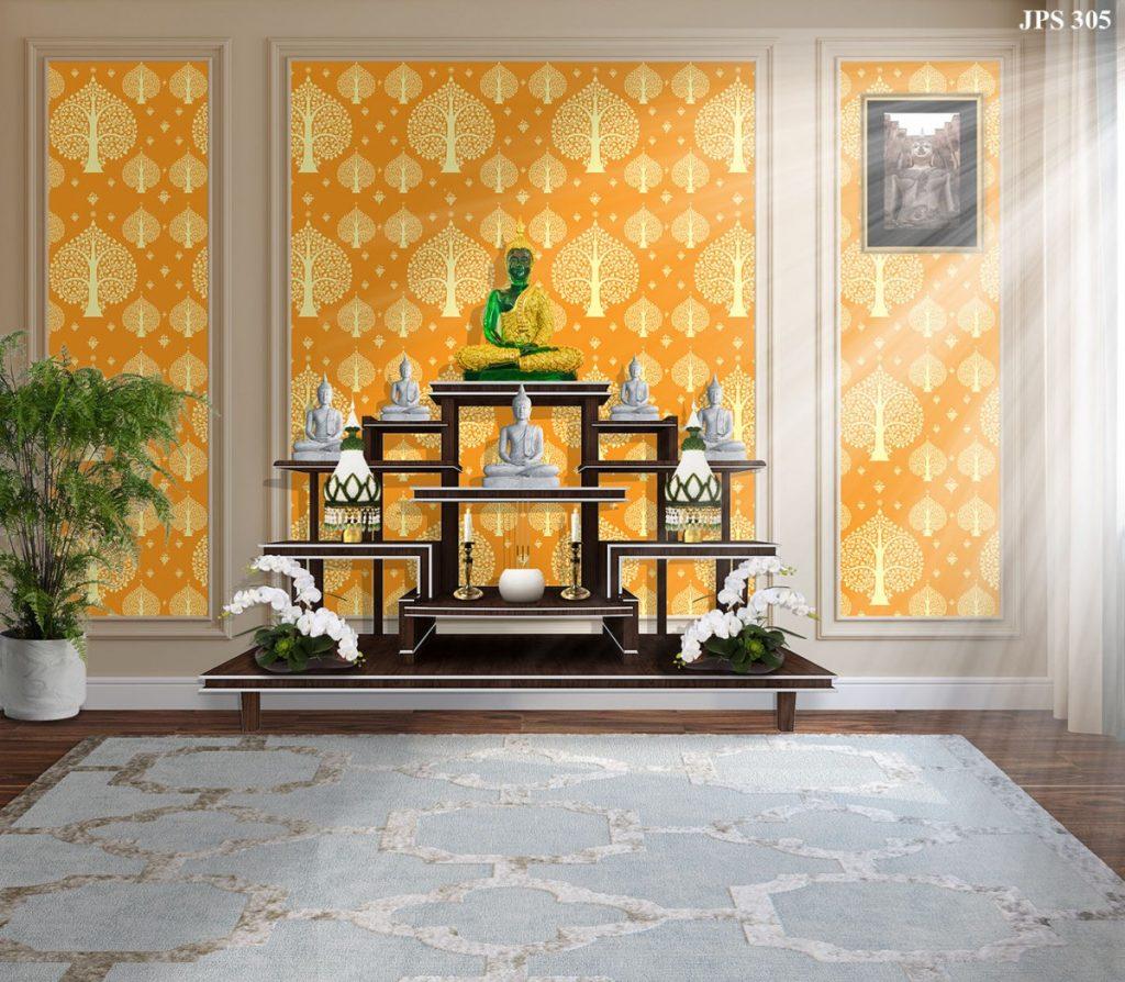 รับติดวอลเปเปอร์ลายไทย ลายต้นโพธิ์ สีเหลือง ตกแต่งผนังห้องพระ