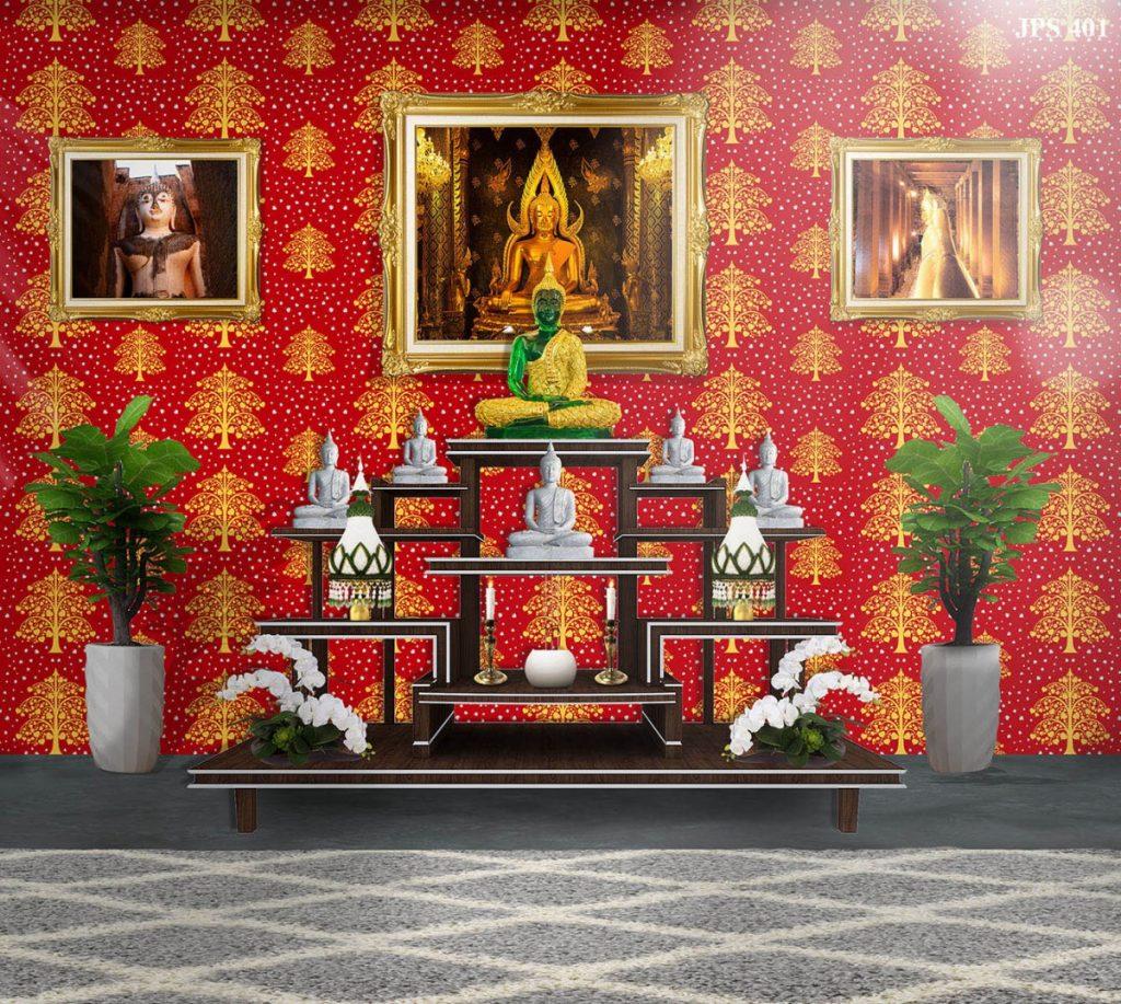 ขายวอลเปเปอร์ลายไทย ลายต้นโพธิ์ทอง ใบโพธิ์เงิน พื้นสีแดง