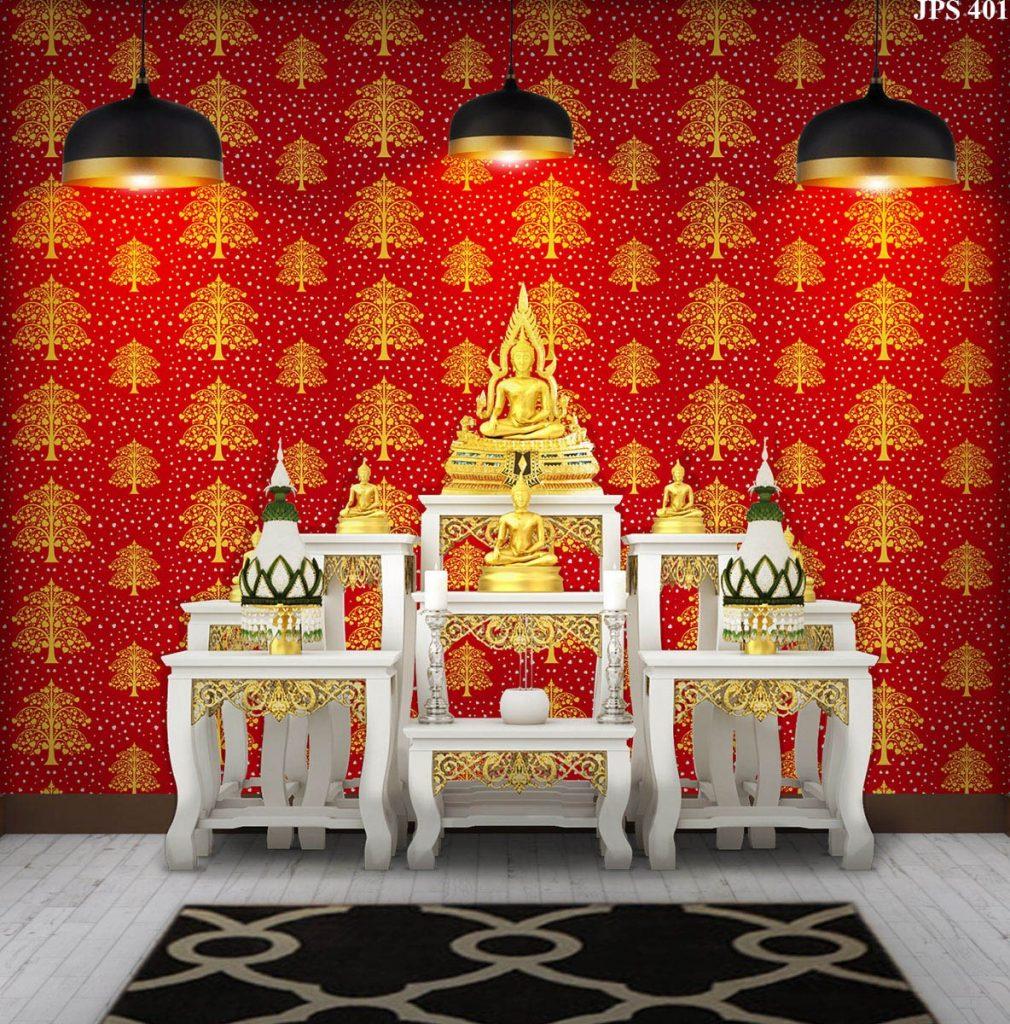 ขายส่งวอลเปเปอร์ลายไทย ลายต้นโพธิ์ทอง ใบโพธิ์เงิน พื้นสีแดง ตกแต่งห้องพระ