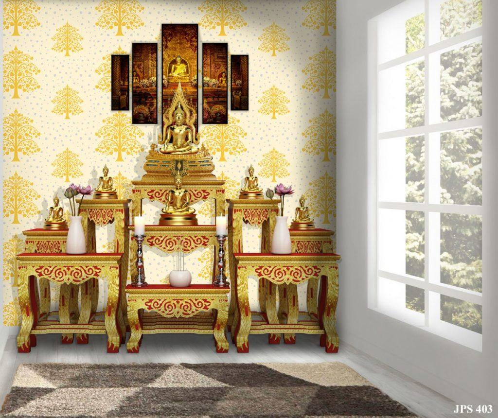 วอลเปเปอร์ติดผนังลายต้นโพธิ์ทอง ใบโพธิ์เงิน พื้นสีขาว ตกแต่งห้องพระให้สวย ดูสว่างตา