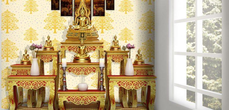 วอลเปเปอร์ติดผนังลายต้นโพธิ์ทอง ใบโพธิ์เงิน พื้นสีขาว วัสดุไวนิล ติดตั้งสะดวก กันน้ำ เช็ดถูทำความสะอาดได้ง่าย