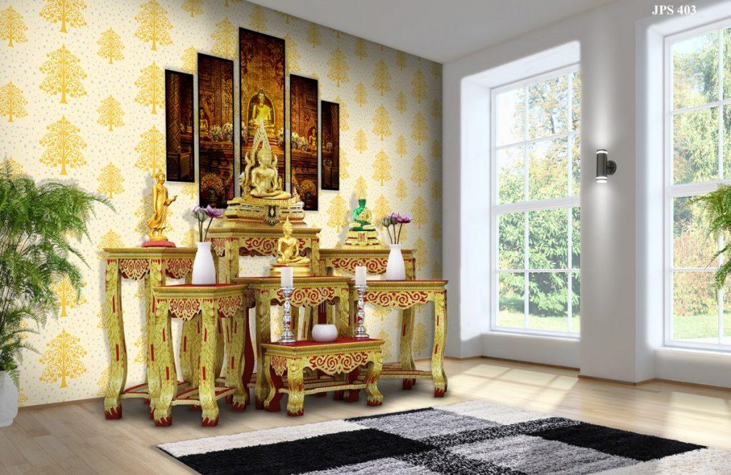 ฉากหลังห้องพระ วอลเปเปอร์ลายต้นโพธิ์ทอง ใบโพธิ์เงิน พื้นสีขาว