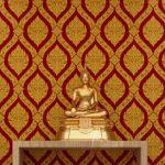 รับตกแต่งห้องพระด้วยวอลเปเปอร์สวยๆ ลายพุ่มข้าวบิณฑ์สีทอง พื้นสีแดง