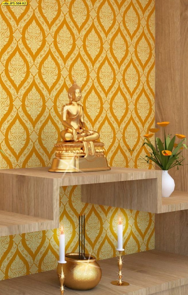 รับติดวอลเปเปอร์ลายไทย ลายพุ่มข้าวบิณฑ์ สีเหลือง