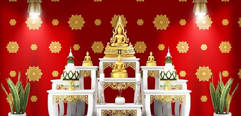 รับติดวอลเปเปอร์ลายไทยตกแต่งห้องพระ ลายดอกดาว สีแดง วัสดุไวนิล คุณภาพดี