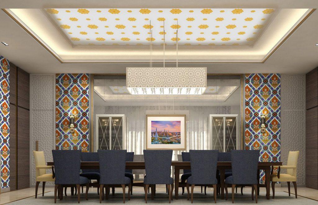 วอลเปเปอร์ไวนิลลายไทยราคาถูก ลายดอกดาว สีทองพื้นขาว ตกแต่งเพดานห้องรับแขก