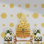 วอลเปเปอร์ติดผนังลายดอกดาวสีทอง พื้นขาว รับติดวอลเปเปอร์ลายไทยตกแต่งห้องพระ