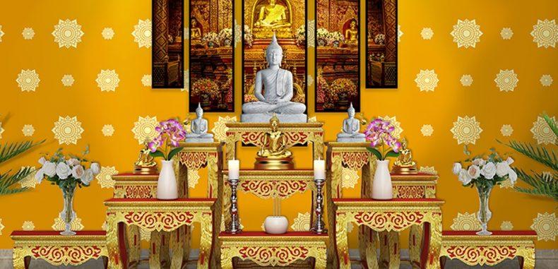 ตกแต่งห้องพระให้สวยขึ้นด้วย วอลเปเปอร์ติดผนังลายดอกดาว โทนสีเหลือง