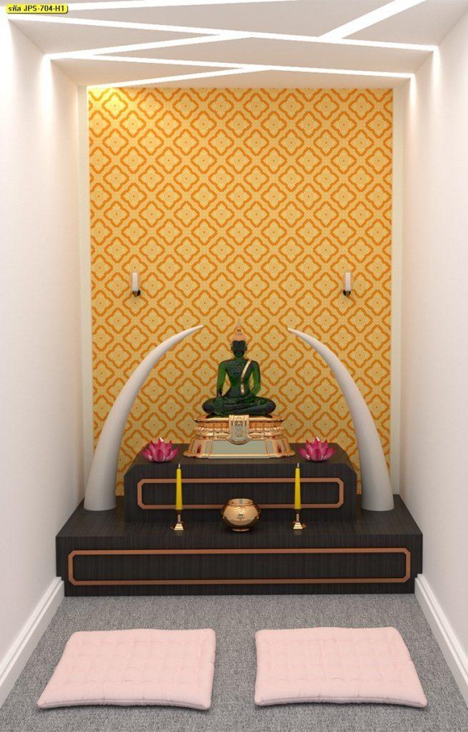 วอลเปเปอร์ไวนิลลายดอกประจำยาม โทนสีเหลือง ตกแต่งฉากหลังห้องพระ