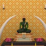 ตกแต่งห้องพระสวยๆ ด้วยวอลเปเปอร์ลายดอกประจำยาม โทนสีเหลือง วอลเปเปอร์ไวนิล ประหยัดค่าใช้จ่าย อายุการใช้งานยาวนาน