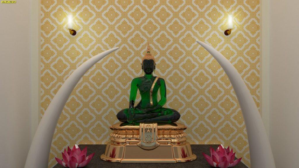 วอลเปเปอร์ห้องพระ วอลเปเปอร์ไวนิลลายดอกประจำยาม สีทองพื้นขาว ใช้งานได้ยาวนาน เช็ดถูทำความสะอาดง่าย