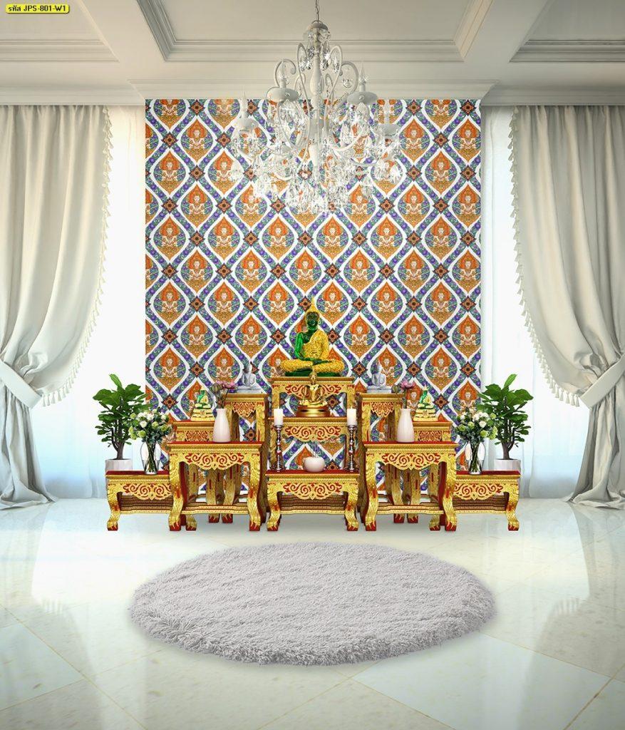 วอลเปเปอร์ไวนิลลายไทยราคาถูก ลายเทพพนมดอกพุดตานก้านแย่ง สีน้ำเงิน