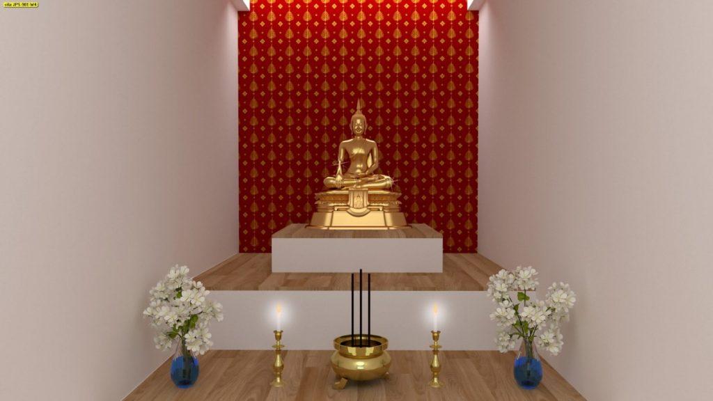 วอลเปเปอร์ติดโบสถ์ ลายใบโพธิ์ทอง พื้นหลังสีแดง วัสดุไวนิล คุณภาพดี อายุการใช้งานนาน