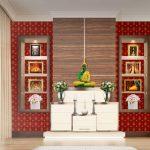 รับตกแต่งห้องพระด้วยวอลเปเปอร์ ลายใบโพธิ์ทอง พื้นหลังสีแดง วัสดุไวนิล ติดตั้งง่ายและอายุการใช้งานยาวนาน
