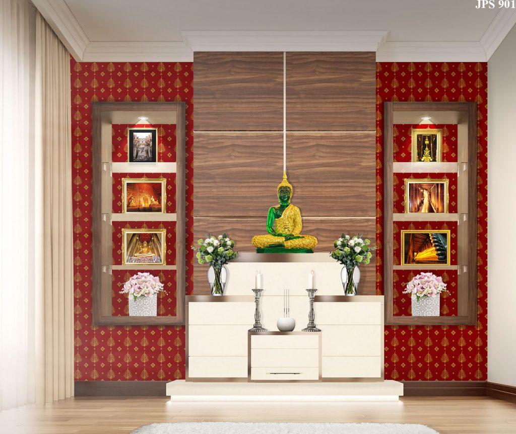 รับตกแต่งห้องพระด้วยวอลเปเปอร์ ลายใบโพธิ์ สีแดง วัสดุไวนิล ติดตั้งง่ายและอายุการใช้งานยาวนาน