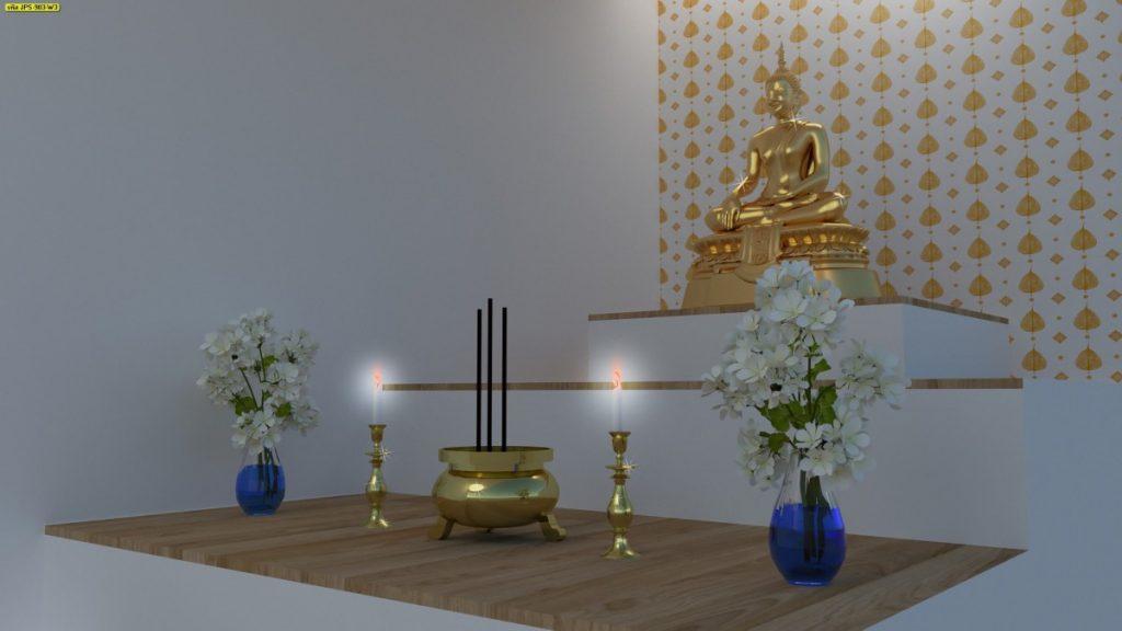รับตกแต่งห้องพระด้วยวอลเปเปอร์ ลายใบโพธิ์ สีทองพื้นขาว