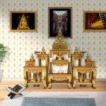 วอลเปเปอร์ไวนิลลายไทยราคาถูก ลายใบโพธิ์ สีทองพื้นขาว ตกแต่งห้องพระ