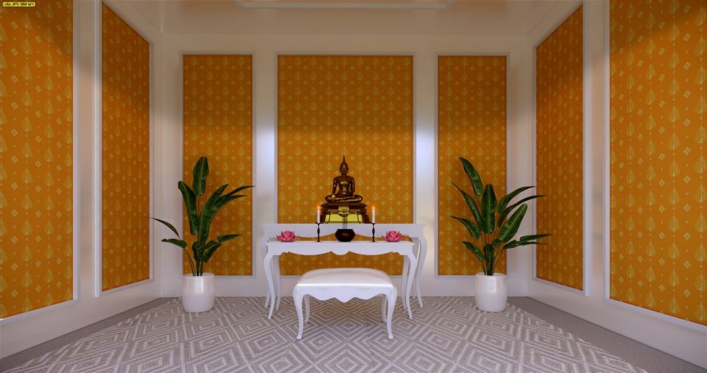 ตกแต่งห้องโถงด้วยวอลเปเปอร์ลายไทยลายใบโพธิ์ สีเหลือง